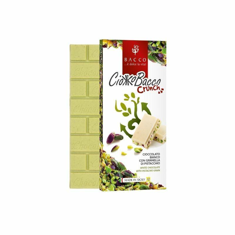Bacco fehér csokoládé ropogós brontei pisztáciával 100 g