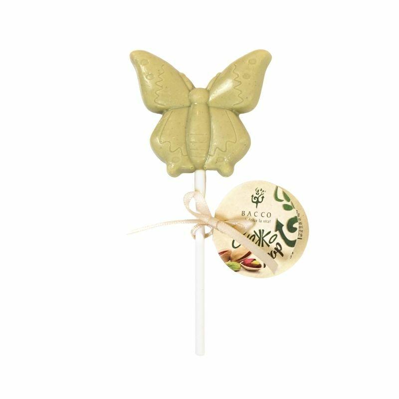 Bacco brontei pisztáciás pillangó formájú nyalóka 18 g