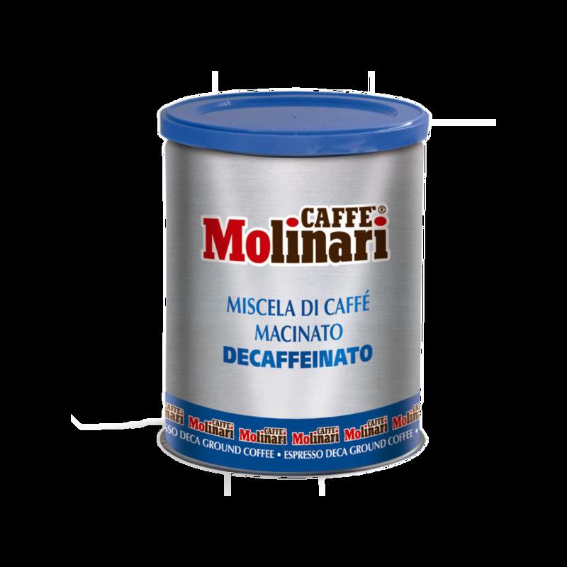 Molinari Cinque Stelle koffeinmentes, örölt kávé 250 g fémdobozban