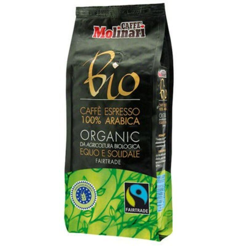 Molinari Organic & Fairtrade 100% Arabica szemes kávé 250 g, fémdobozban